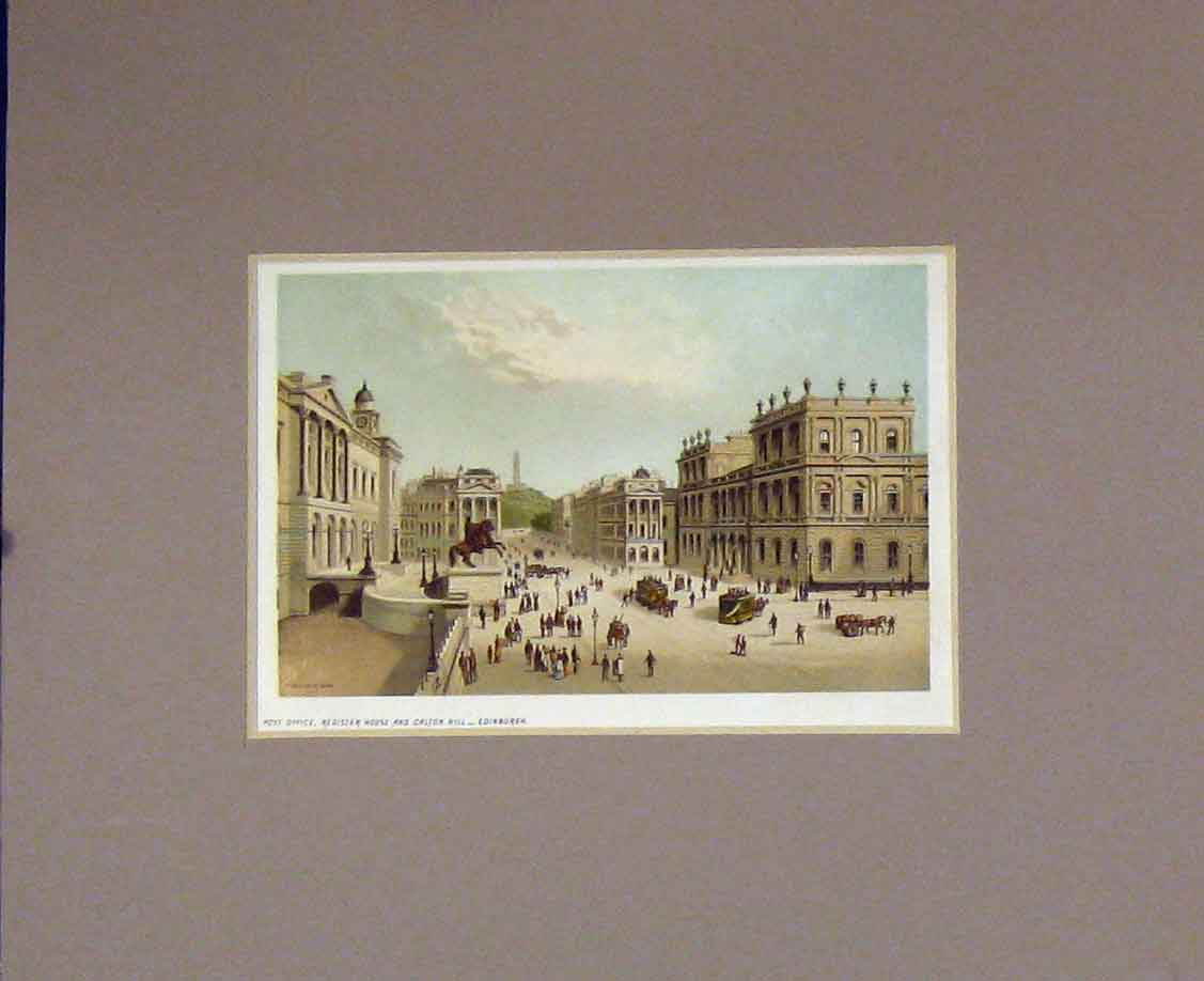 Print 1889 Chromo-Litho Post Office Calton Hill Edinburgh 211B285 Old Original