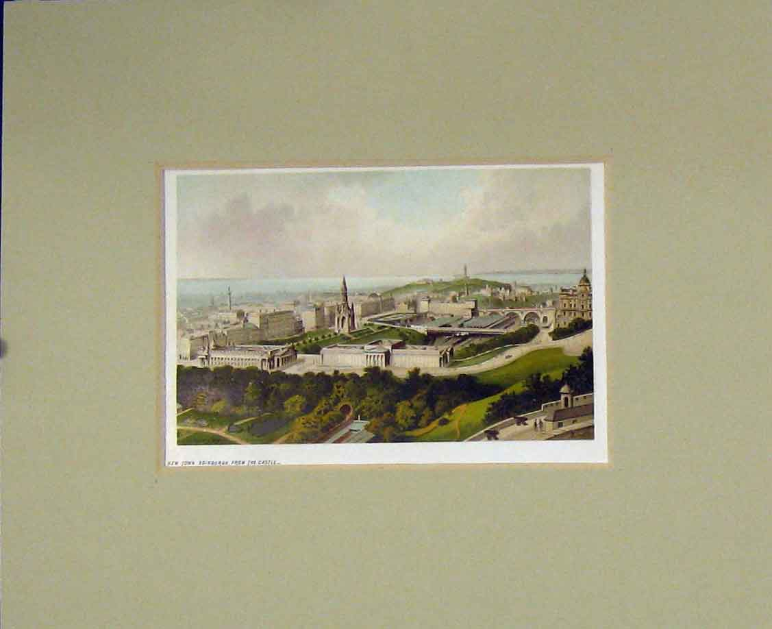 Print 1889 Chromo-Litho View New Town Edinburgh Scotland 212B285 Old Original