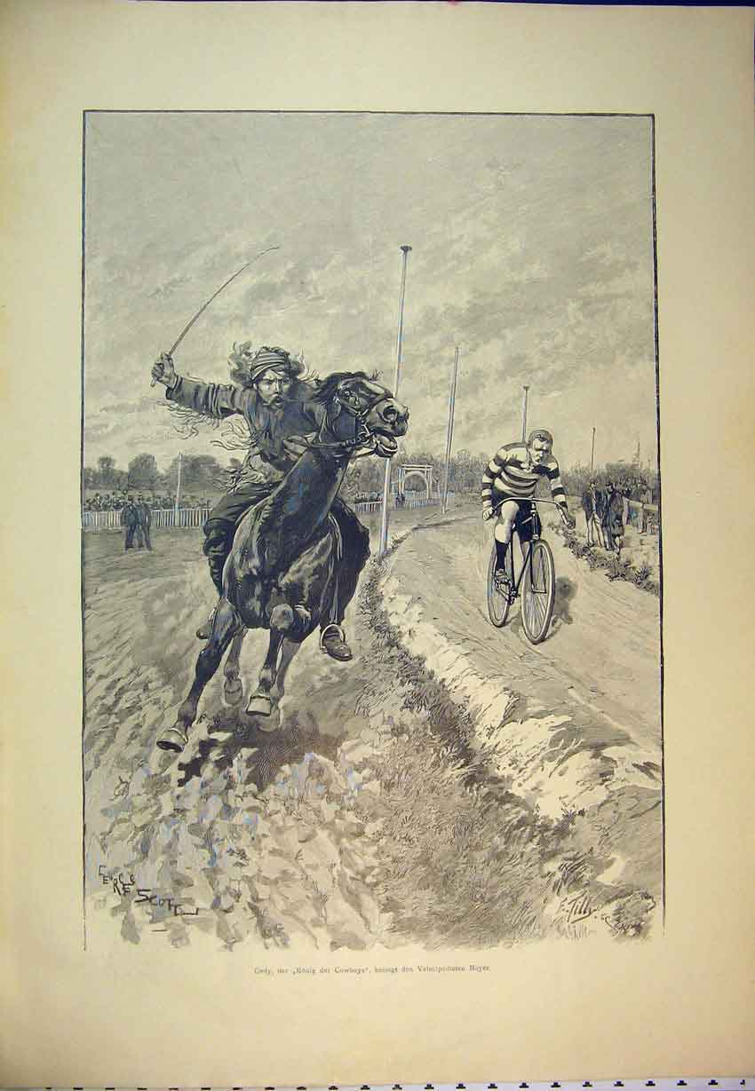 Print C1870 German Magazine Horse Racing Sport Men Bycicle 402B346 Old Original