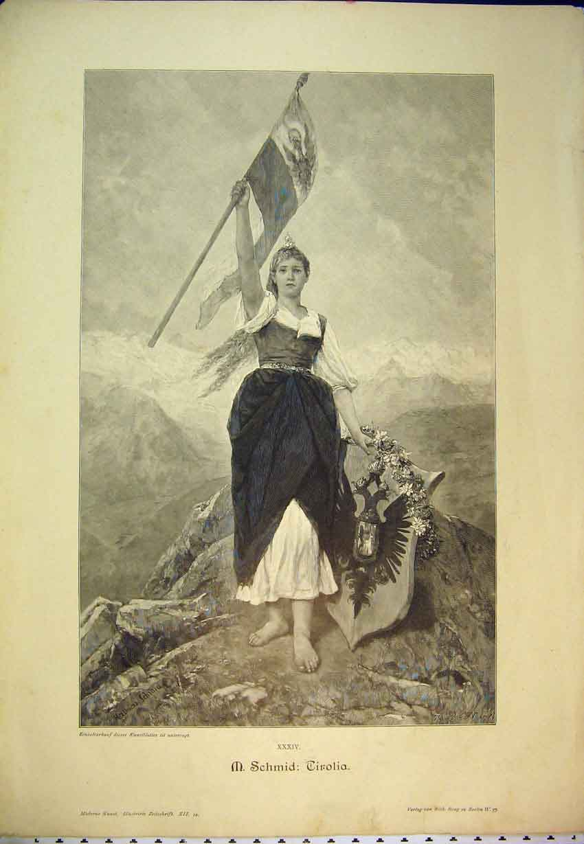 Print C1870 Germany Mountain Barefoot Woman Flag Shield 411B346 Old Original