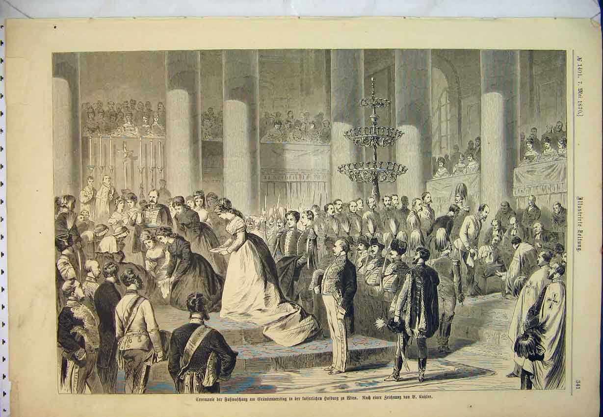 Print 1870 Interior Cathedral Army Soldiers Royal Ceremony 413B346 Old Original