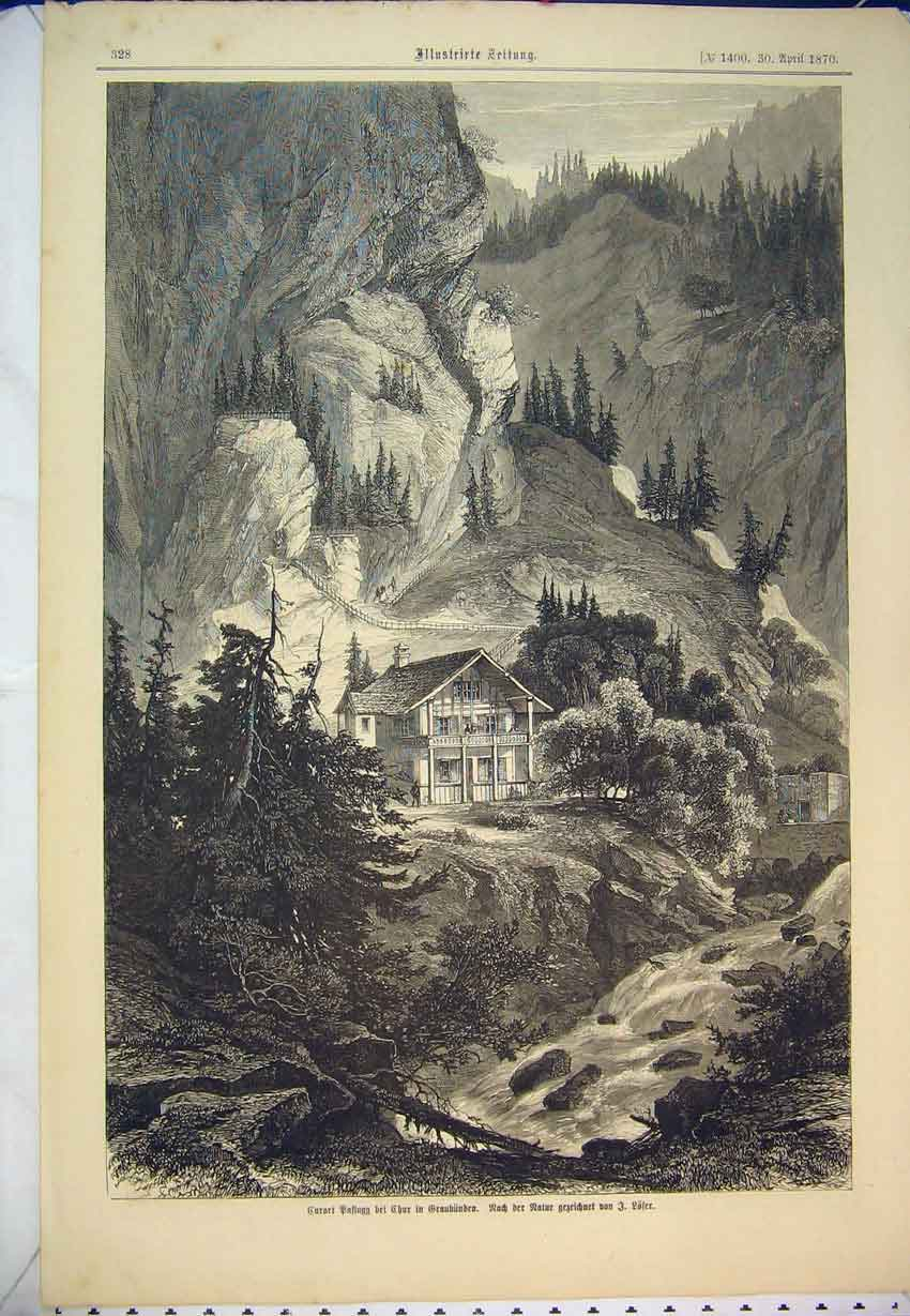 Print 1870 German Magazine Country House Mountain Scene Art 417B346 Old Original