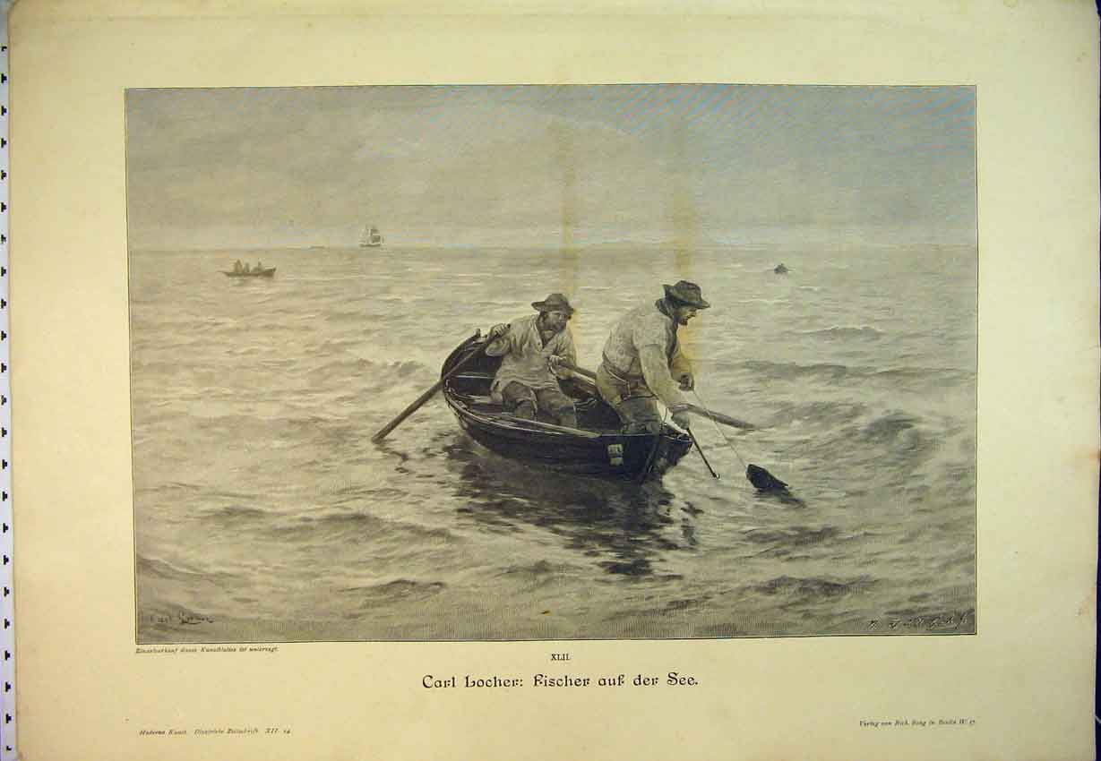 Print German Magazine C1870 Men Fishing Sea Boat Fish Sport 420B346 Old Original
