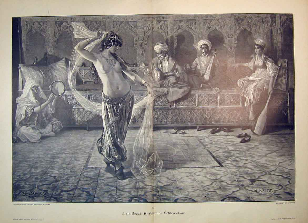 Print C1870 Double Page German Woman Dancing Men Music Art 301B347 Old Original