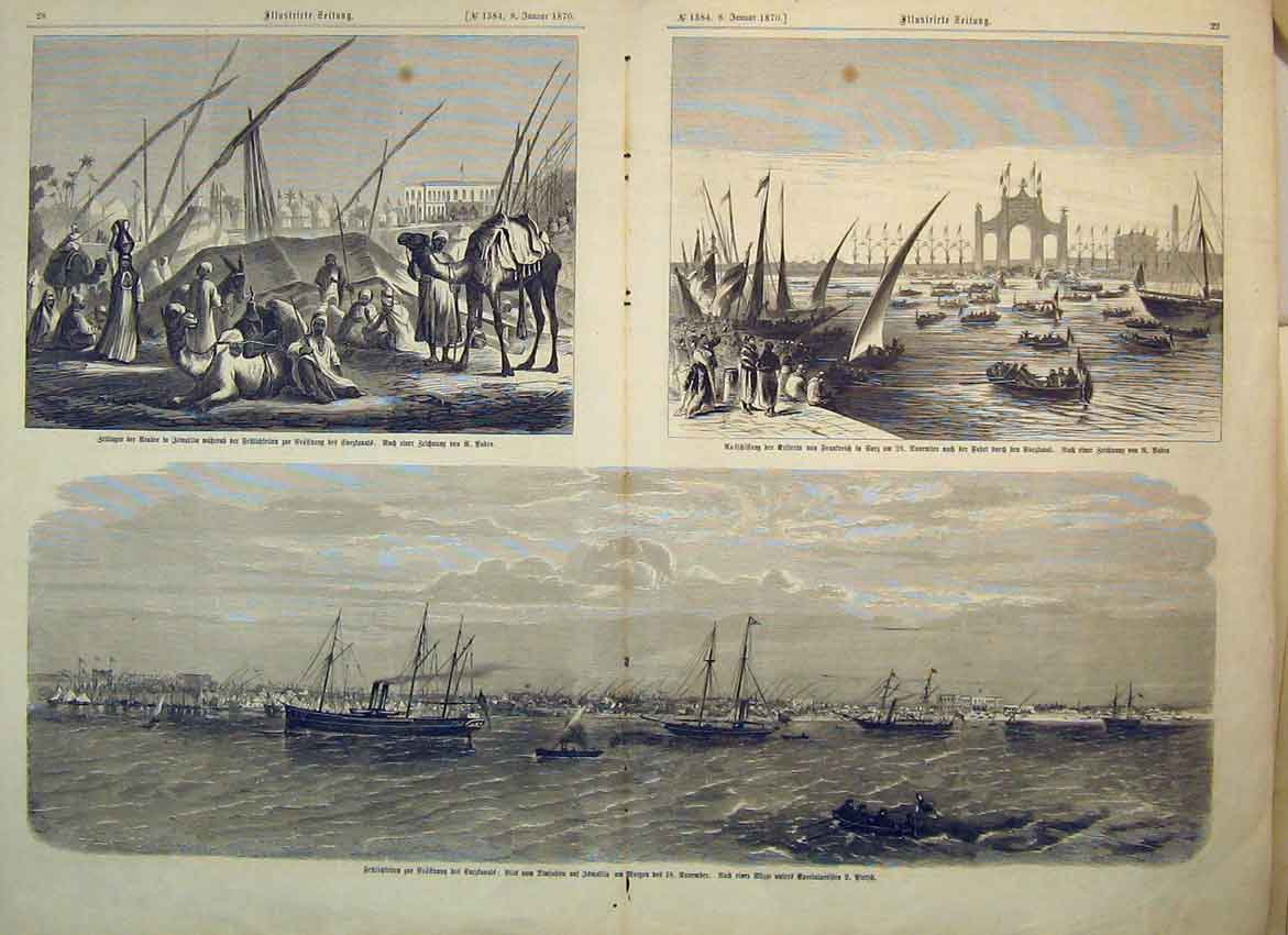 Print 1870 German Camel Sailing Boat Ship Men 308B347 Old Original