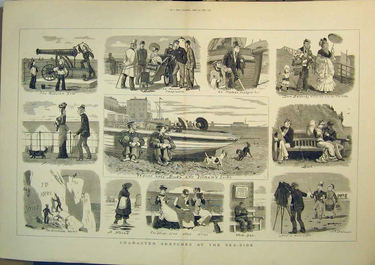 Print Sketches Sea-Side 1879 Romance Dog Boats Family Beach 201B348 Old Original