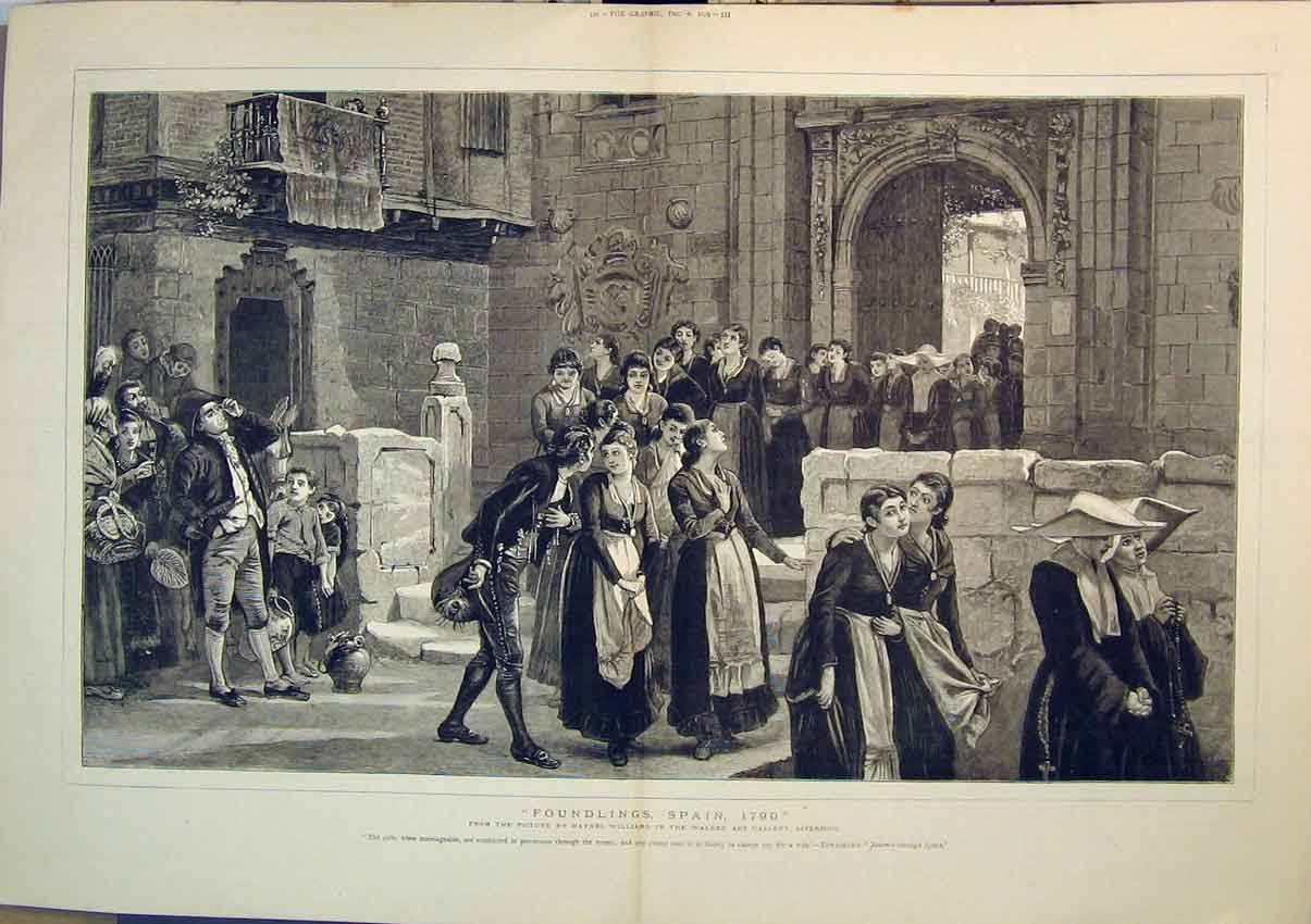 Print 1879 Foundlings Spain Nuns Church Haynes Williams 204B348 Old Original