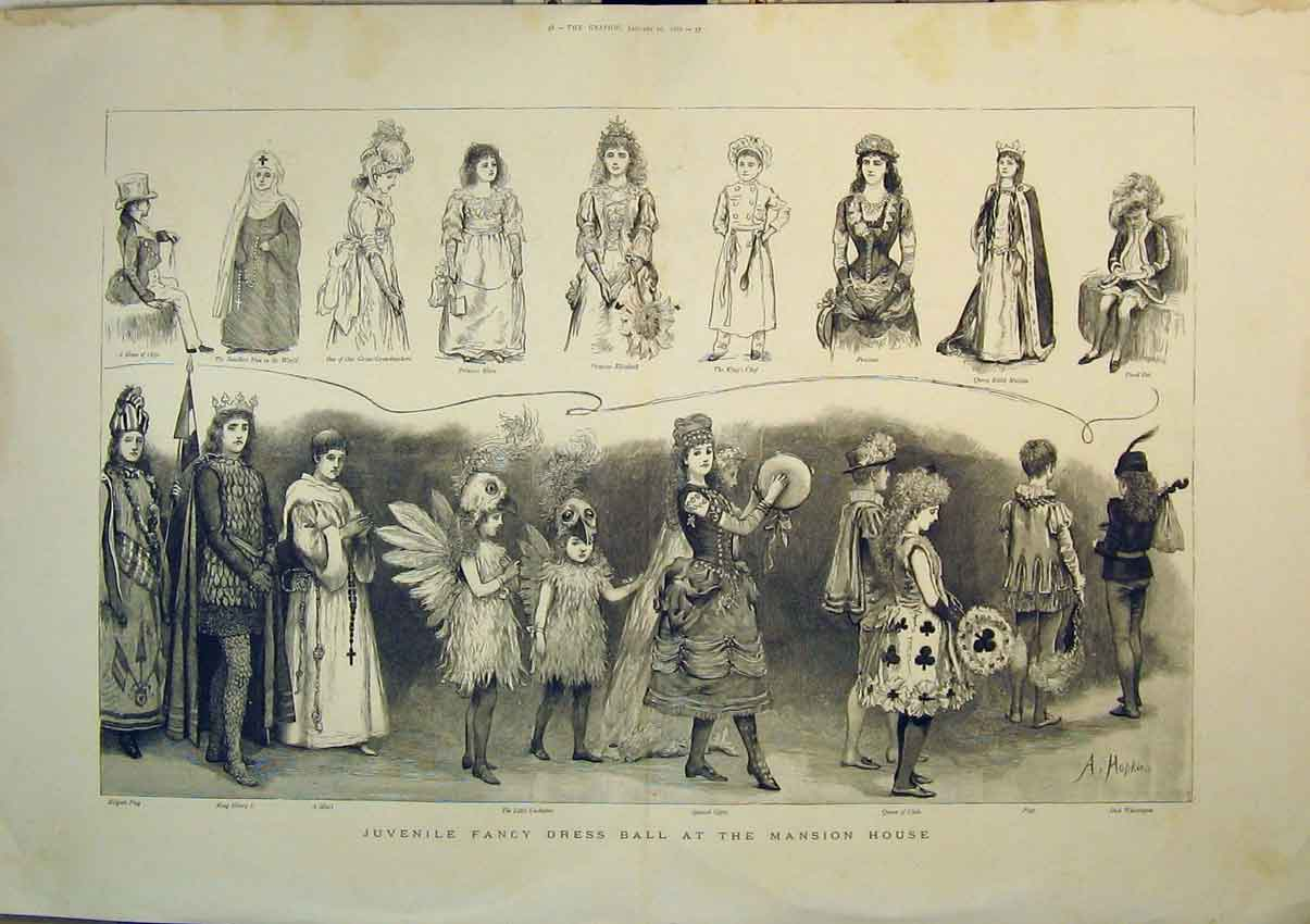 Print *0107 1888 Children Fancy Dress Ball Mansion House Costumes 209B348 Old Original
