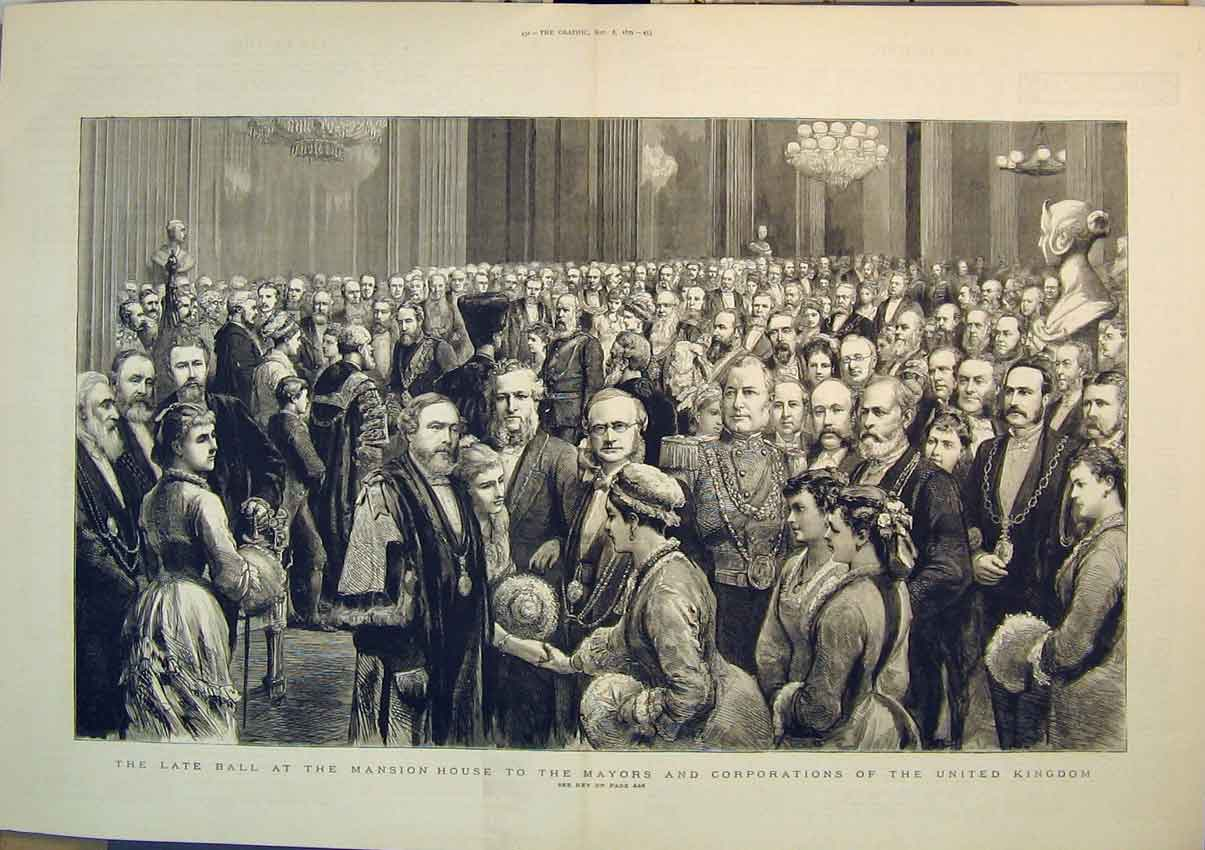 Print 1879 Ball Mansion House Mayor Corporations Britain 225B348 Old Original