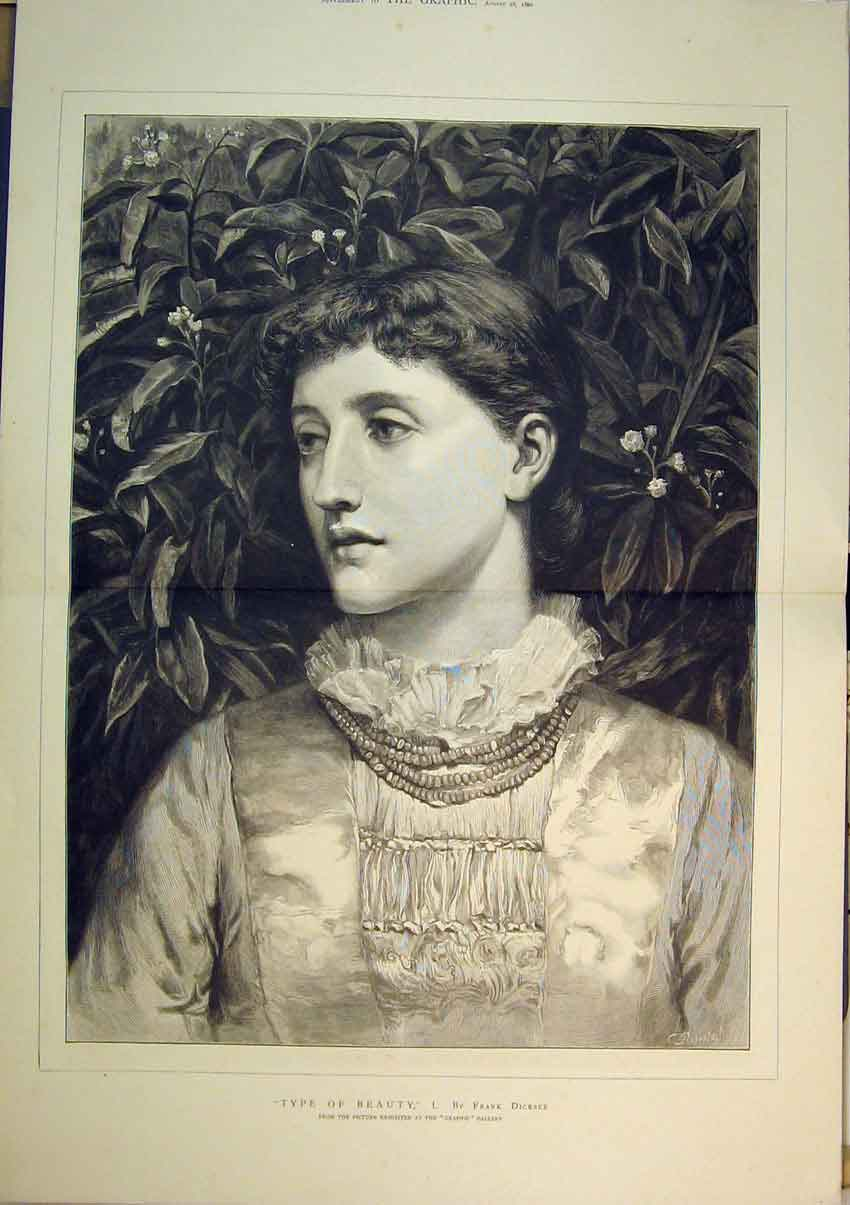 Print 1880 Portrait Beautiful Woman Frank Dicksee 235B348 Old Original