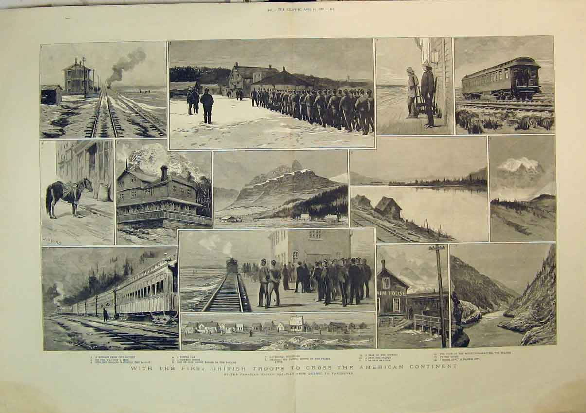 Print 1888 British Troops America Train Railway Mountain Car 242B348 Old Original