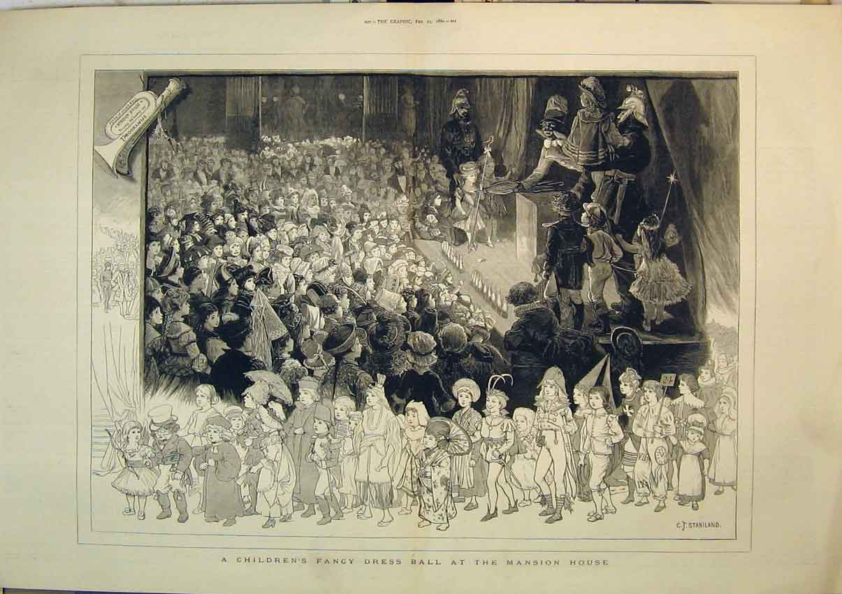 Print 1880 Children'S Fancy Dress Ball Mansion House Party 254B348 Old Original