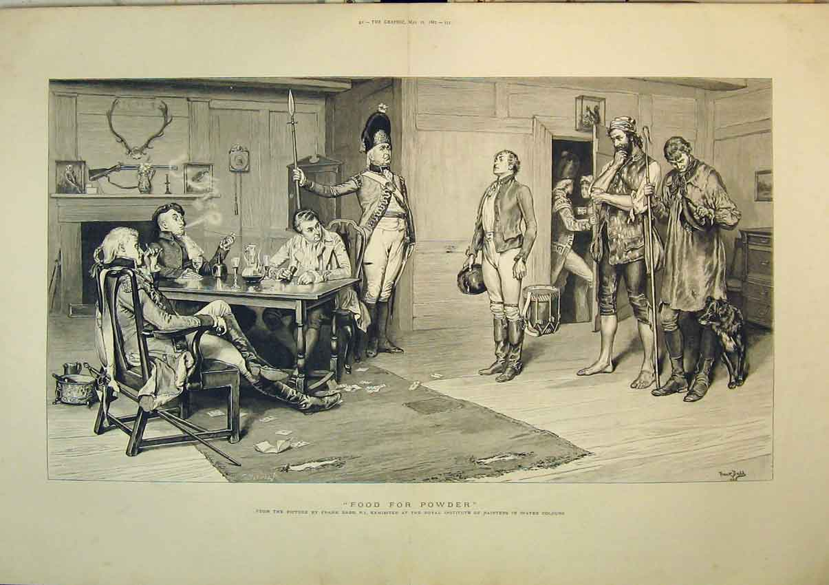 Print 1887 Interior Scene Soldiers Dinner Table Frank Dadd 257B348 Old Original