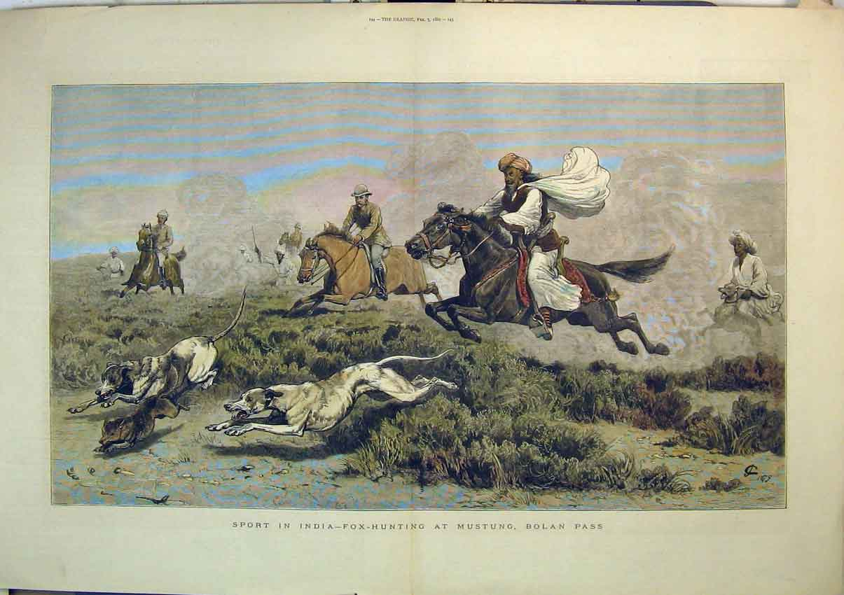 Print 1880 Sport India Fox Hunting Mustung Bolan Pass Horses 261B348 Old Original