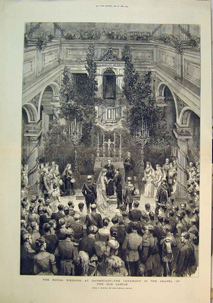 Print Royal Wedding Darmstadt 1884 Ceremony Chapel Castle 264B348 Old Original