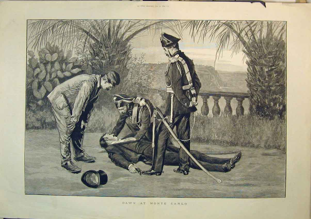 Print Soldiers 1884 Dead Man Gun Shooting Fine Art 279B348 Old Original