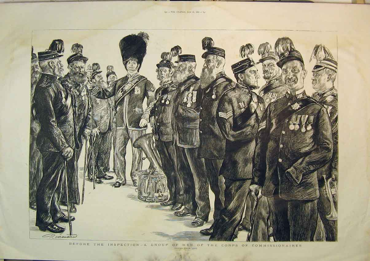 Print Army Soldiers 1887 Corps Commissionaires War Music 280B348 Old Original