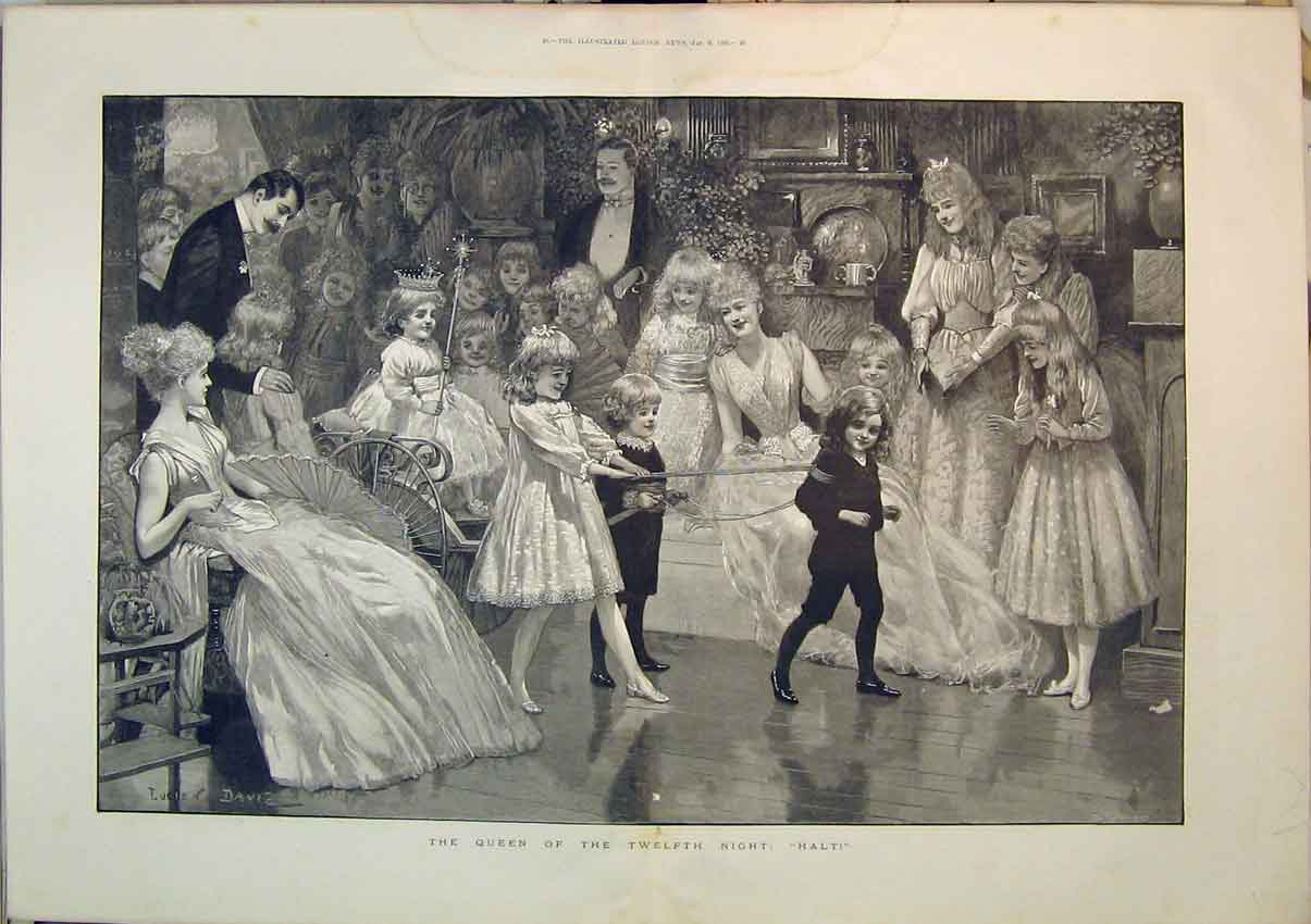 Print Children Performing Playing 1892 Celebrating Party 283Ab348 Old Original