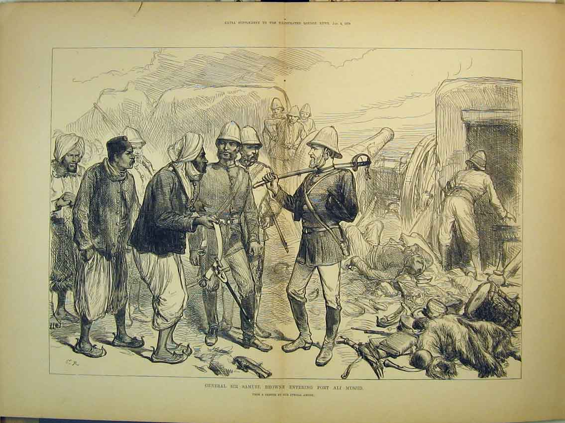 Print 1879 General Samuel Brown Fort Ali Musjid War Soldiers 284B348 Old Original