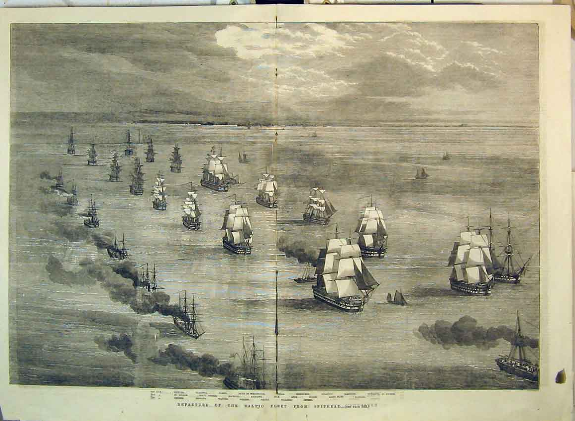 Print 1855 Departure Fleet War Ships Baltic Spithead Calcutta 103B349 Old Original