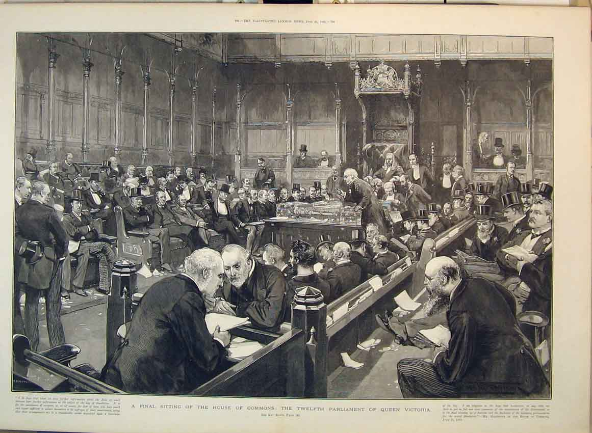 Print 1892 House Commons Twelfth Parliament Queen Victoria 106B349 Old Original