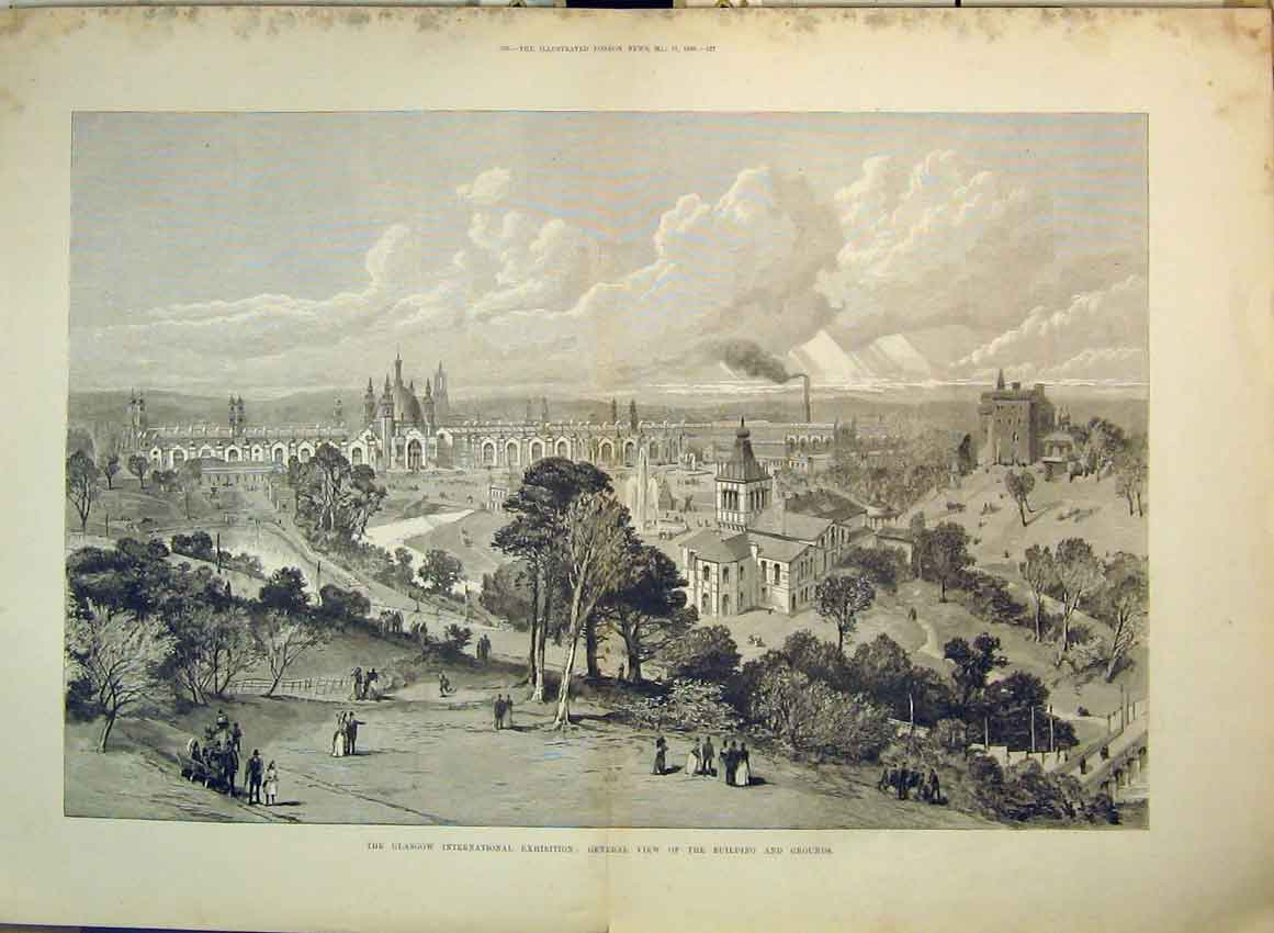 Print 1883 Glasgow International Exhibition Building Grounds 111B349 Old Original