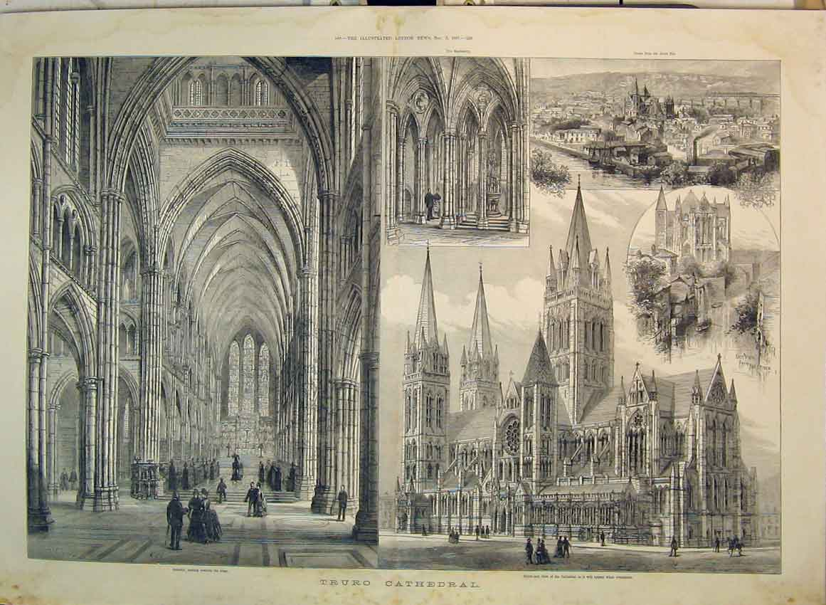 Print 1887 Truro Cathedral Interior Altar River Fal Church 113B349 Old Original