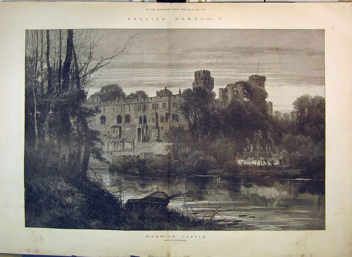 Print 1886 English Homes Warwick Castle Trees River Montbard 118B349 Old Original