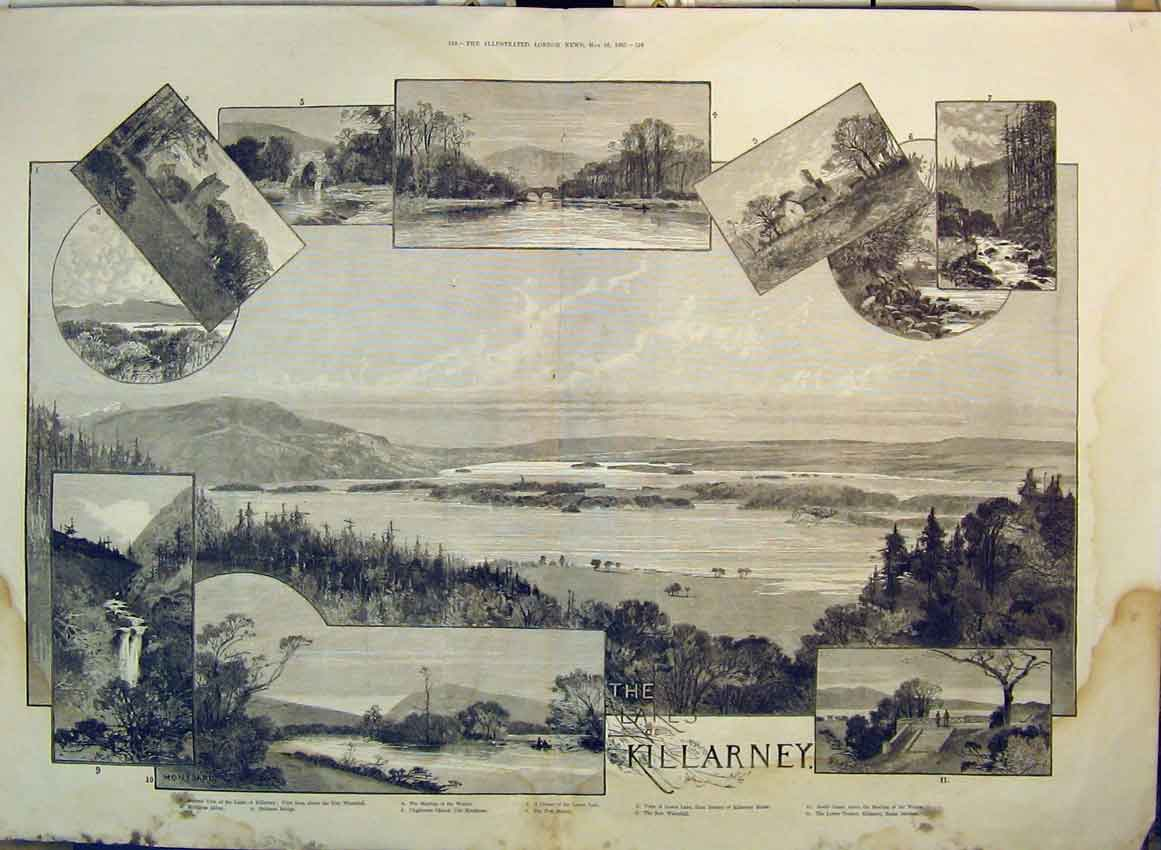 Print Lakes Killarney Torc Waterfall 1885 Bridge Church Abbey 120B349 Old Original