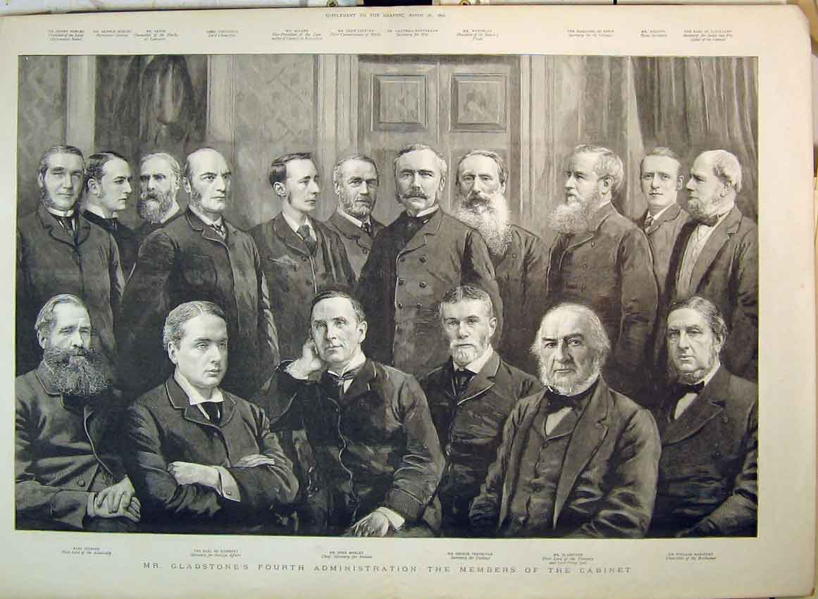 Print 1892 Gladstone Members Cabinet Trevelyan Morley Spencer 130B349 Old Original