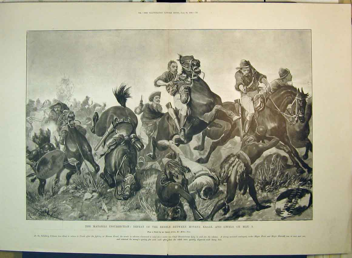 Print Matabili Insurrection 1896 Battle Rebels Movene Gwelo 135B349 Old Original