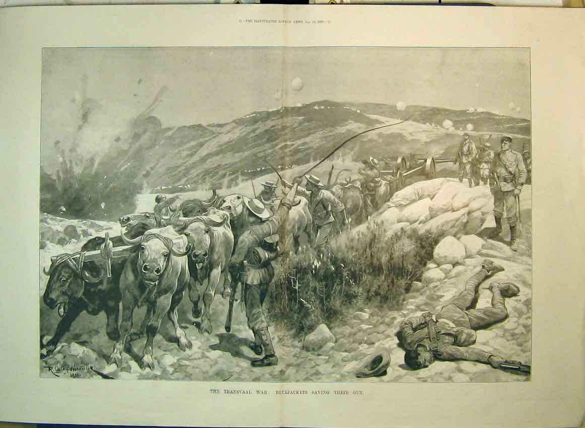 Print 1900 Transvaal War Bluejackets Saving Gun War Dead Man 137B349 Old Original