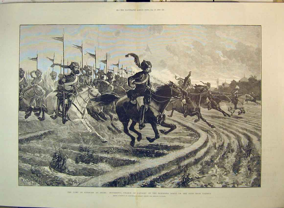Print 1886 Camp Delhi Cavlary Guns Paniput War Horses Soldier 147B349 Old Original