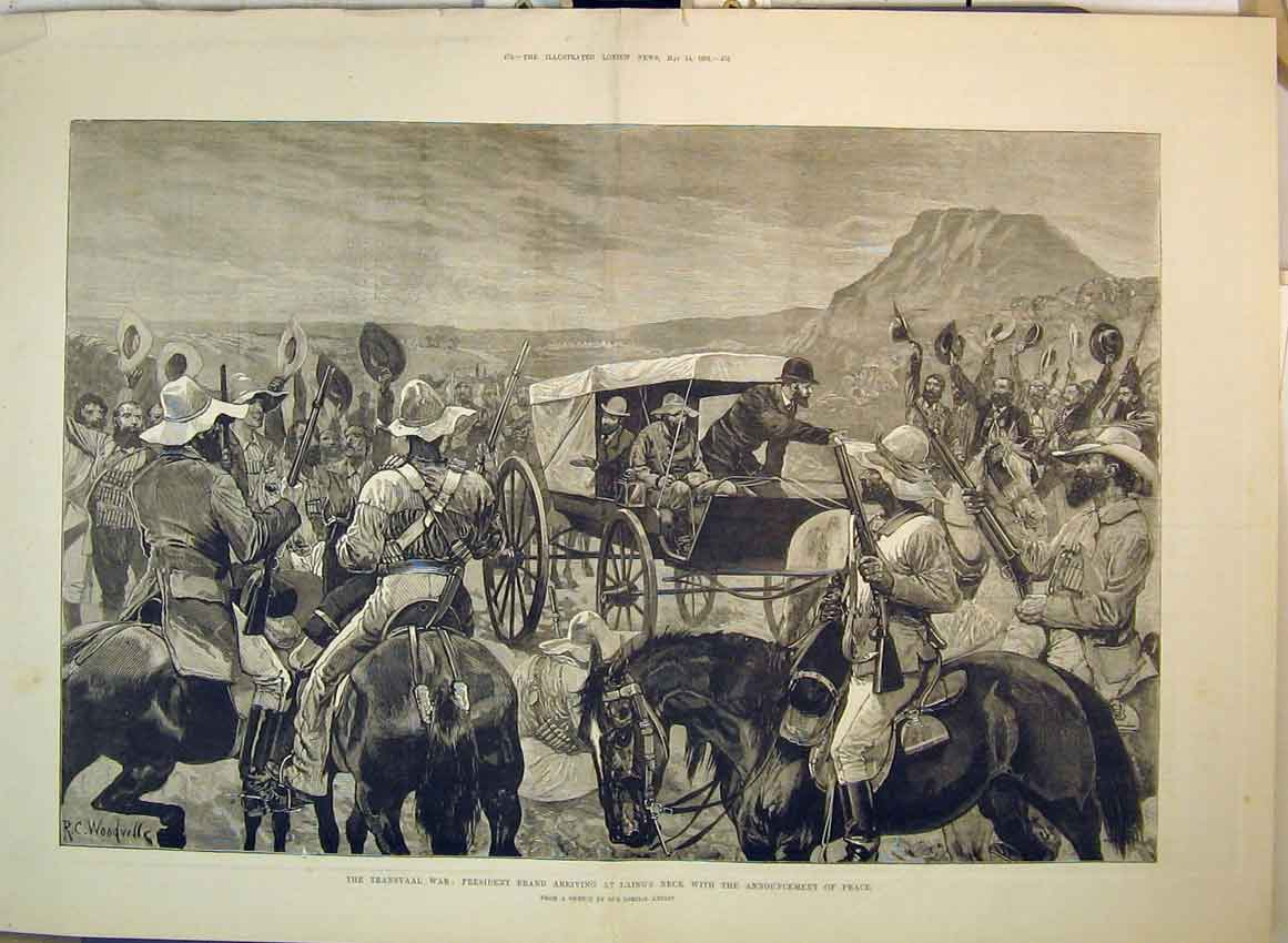 Print 1881 Transvaal War Laings Neck President Brand Soldiers 151B349 Old Original