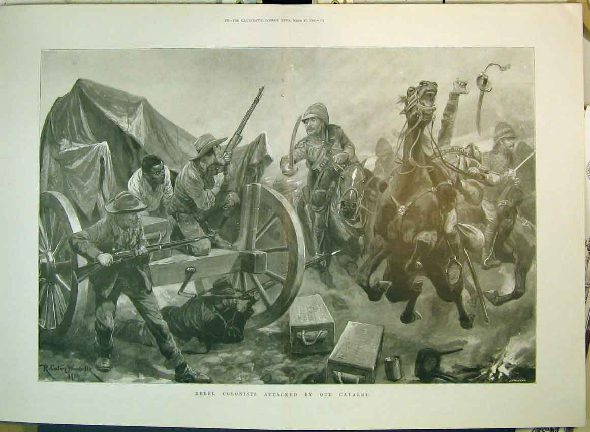 Print 1900 War Rebel Colonists Attacked Cavlary Horse Wagon 162B349 Old Original