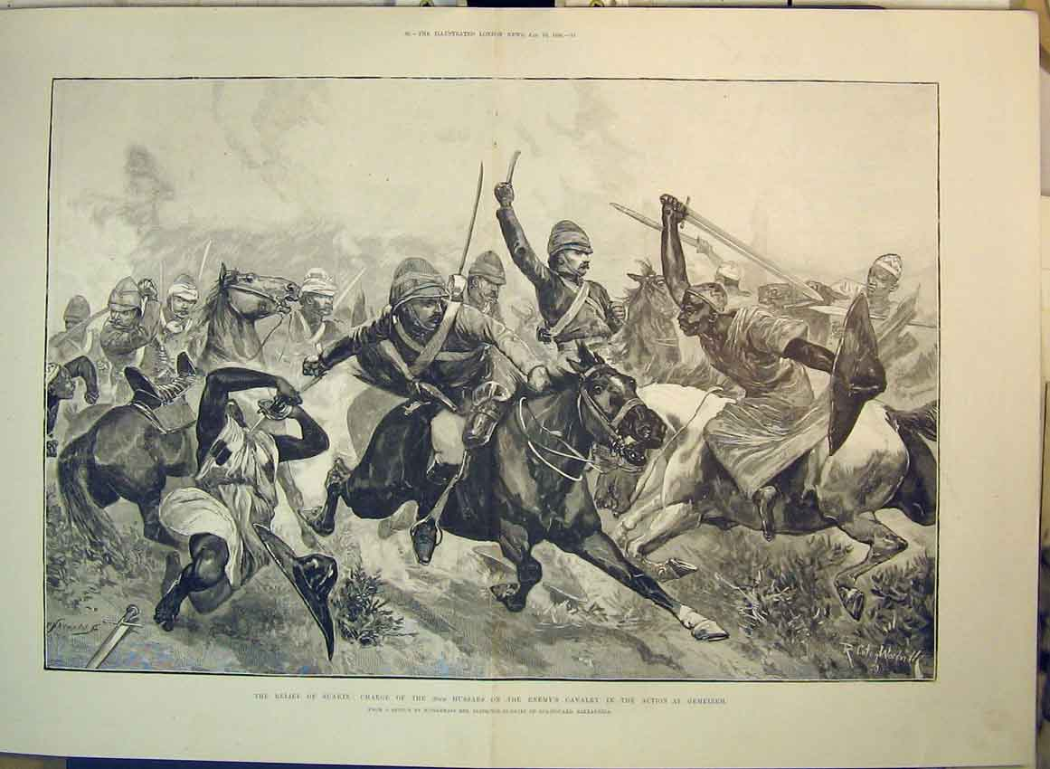 Print 1889 Relief Suakin Charge Hussars Cavlary Gemeizeh War 165B349 Old Original