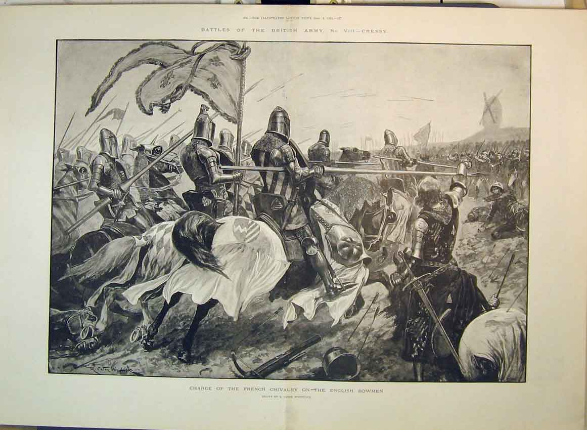 Print 1894 British Army Cressy French Cavalry English Bowmen 166B349 Old Original