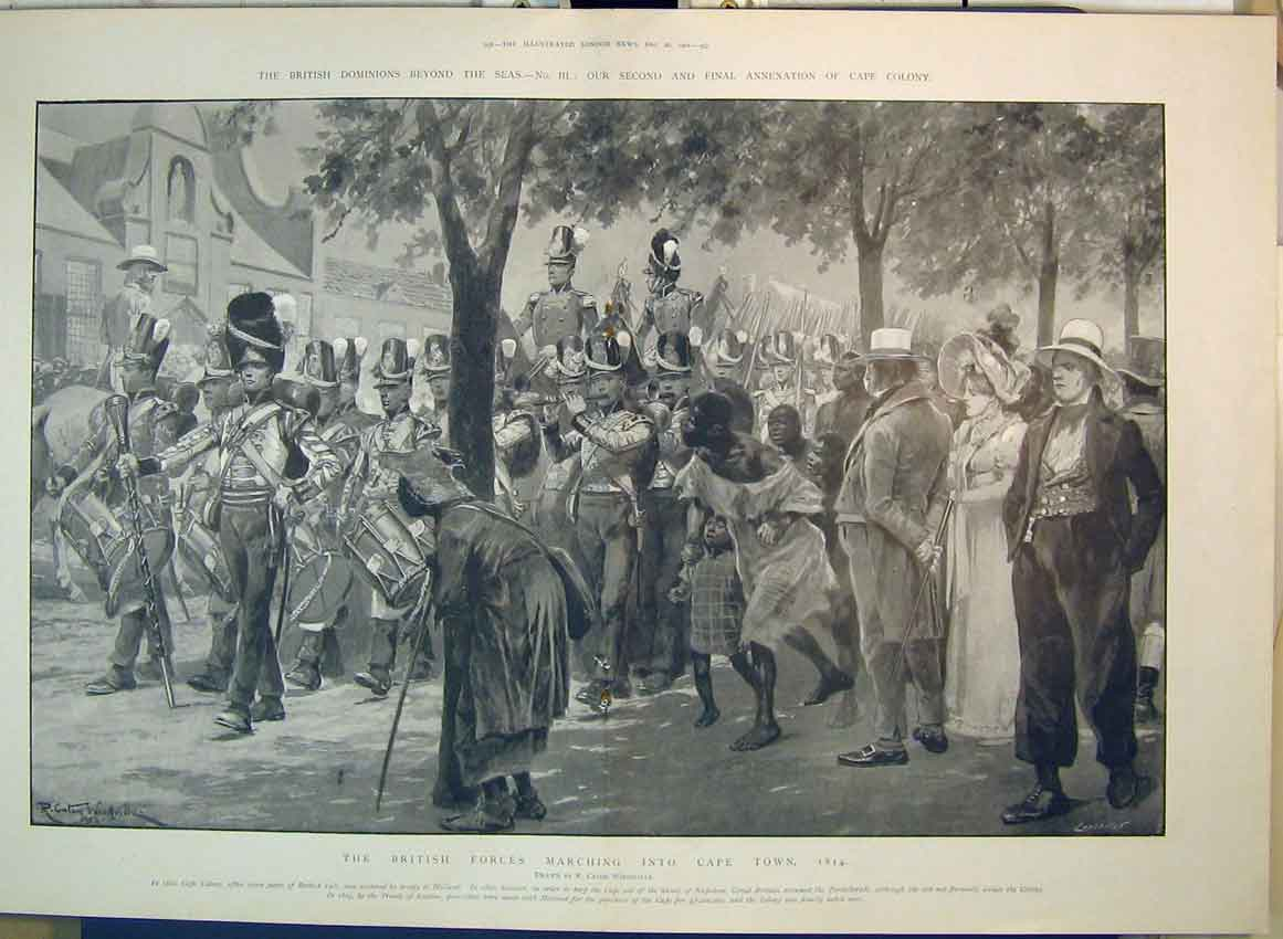 Print 1902 British Forces Marching Cape Toen Africa Dominions 171B349 Old Original