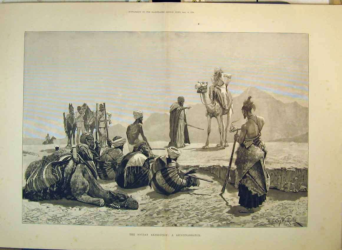 Print Soudan Expedition 1884 Reconnaissance Camel Soldiers 176B349 Old Original