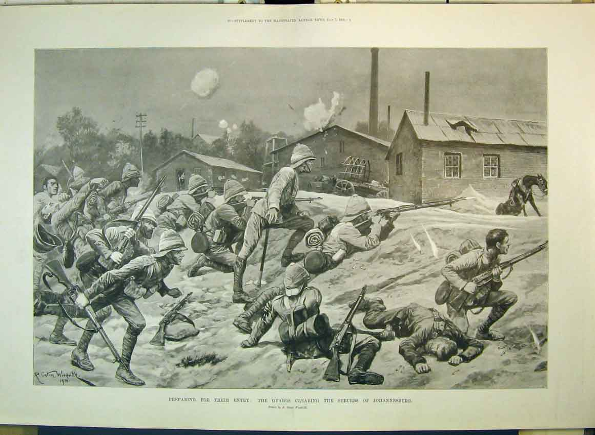 Print 1900 War Guards Clearing Suburbs Johannesburg Shooting 181B349 Old Original