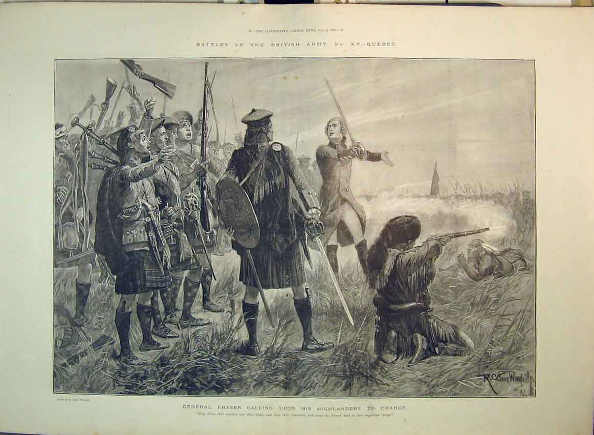 Print Battles British Army Quebec 1896 General Fraser War 182B349 Old Original