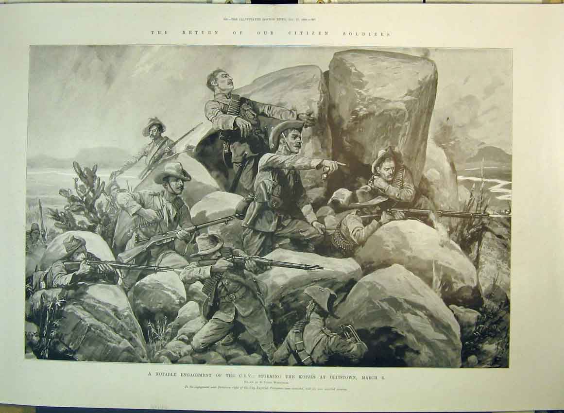Print 1900 Citizen Soldiers War Storming Kopjes Britstown 184B349 Old Original