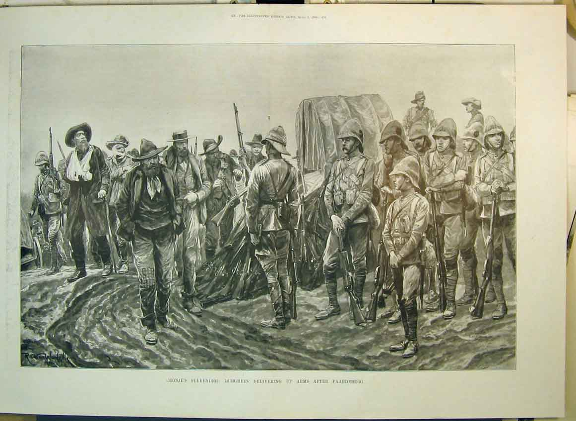 Print 1900 Cronjes Surrender Burghers Arms Paardeberg War 197B349 Old Original