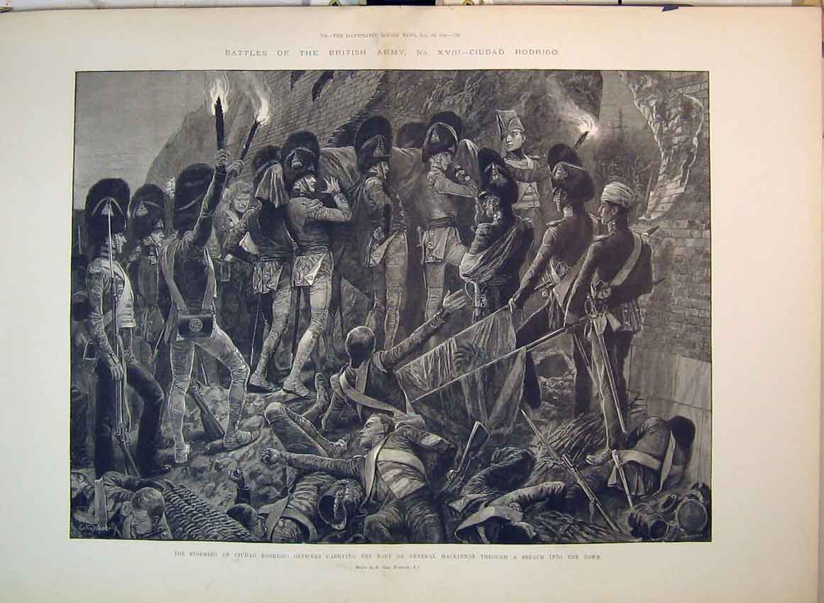 Print 1896 Battle Ciudad Officers Carrying Body Mackinnon War 200B349 Old Original