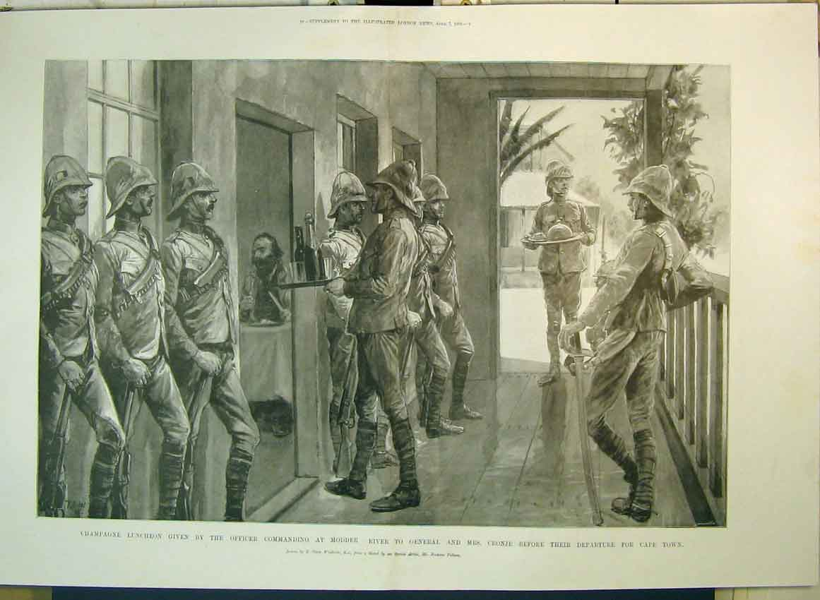 Print 1900 Luncheon Officer Modder River General Cronje Cape 207B349 Old Original