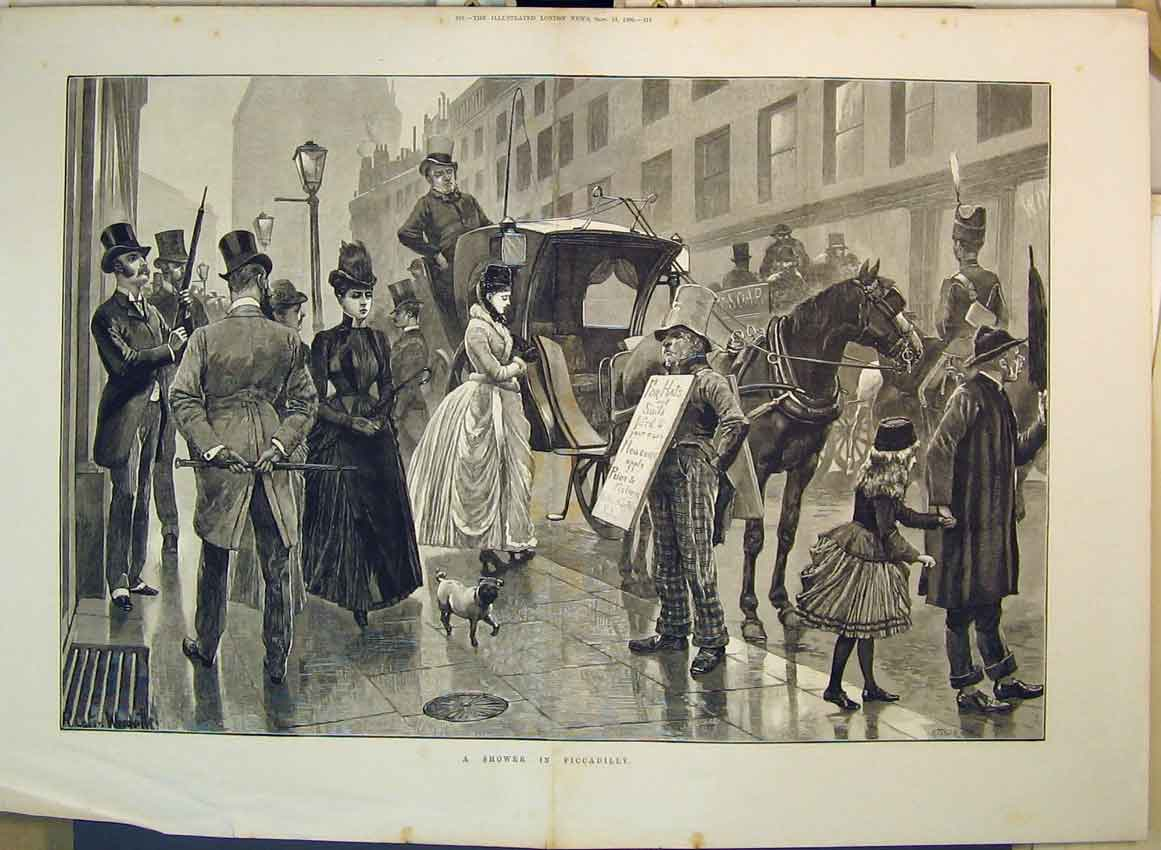 Print 1886 Street Scene Shower Piccadilly Horse Coach Dog 212B349 Old Original