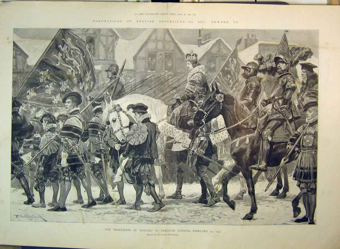 Print 1902 Procession King Edward London Horses Woodville 214B349 Old Original