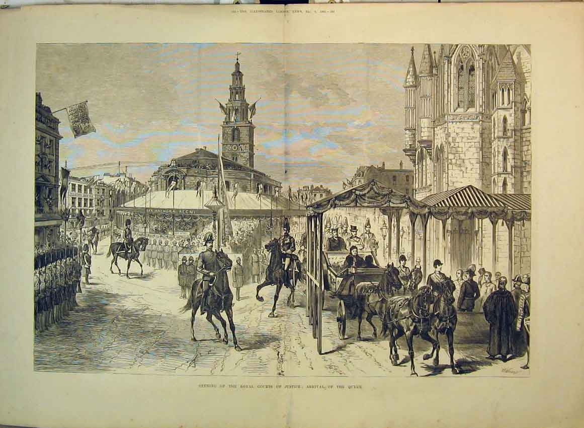 Print 1882 Opening Royal Courts Justice Arrival Queen Horses 216B349 Old Original