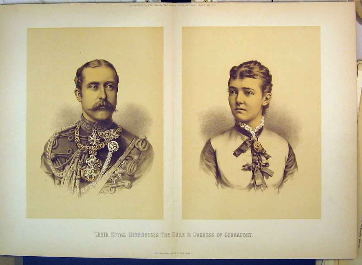 Print Portrait Royal Highnesses Duke Duchess Connaught 1879 229B349 Old Original