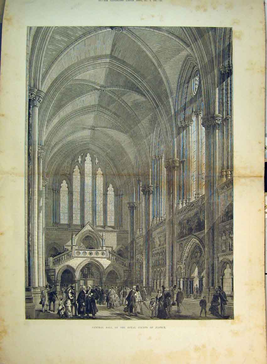 Print 1882 Central Hall Royal Courts Justice Interior View 244B349 Old Original